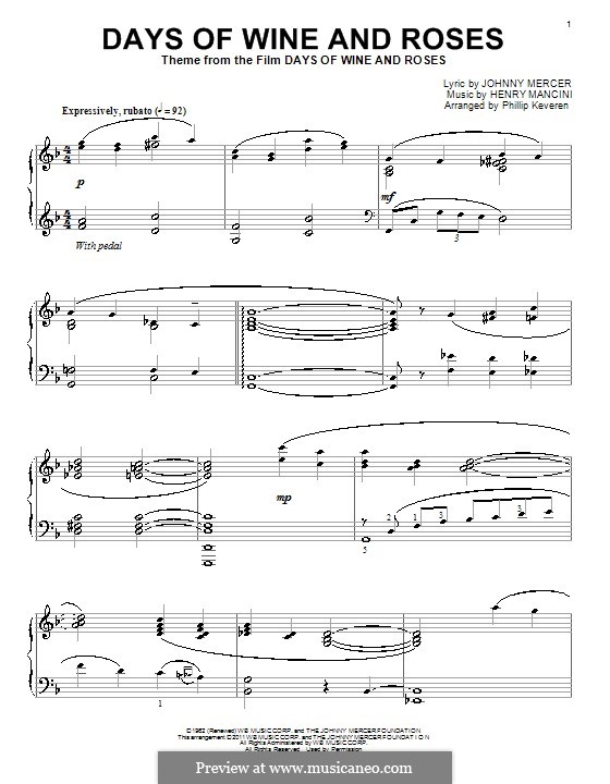 Days of Wine and Roses: Para Piano by Henry Mancini