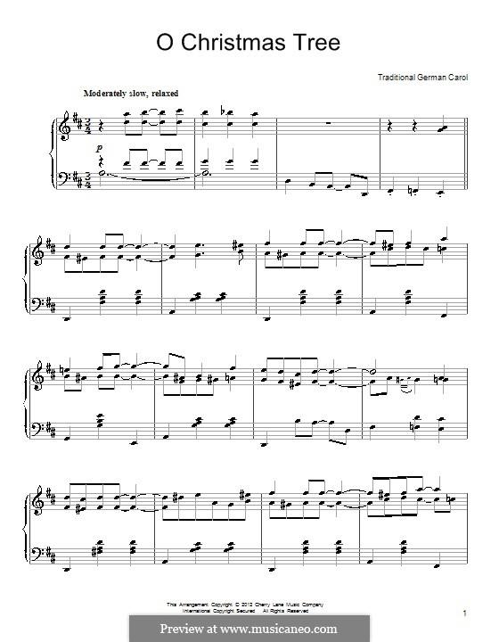 O Christmas Tree, for Piano: em D maior by folklore