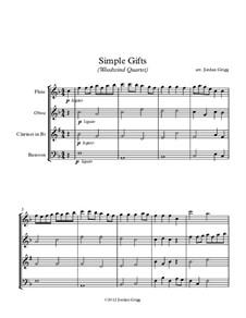 Simple Gifts: Para quarteto de sopro by Joseph Brackett