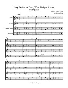 Sing Praise to God, Who Reigns Above: Para quarteto de sopro by Unknown (works before 1850)