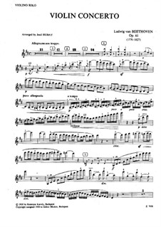 Concerto for Violin and Orchestra in D Major, Op.61: Version for piano and violin – violin solo part by Ludwig van Beethoven