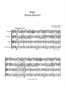 Waltz in G Major, Op.39 No.15: para quartetos de cordas by Johannes Brahms