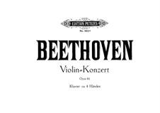 Concerto for Violin and Orchestra in D Major, Op.61: versão para piano de quatro mãos by Ludwig van Beethoven