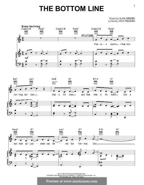 The Bottom Line: Para vocais e piano (ou Guitarra) by Alan Menken