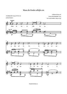Wann die Kinder schlafen ein, Op.37 Nr.5: Partitur für zwei Interpreten by Carl Reinecke
