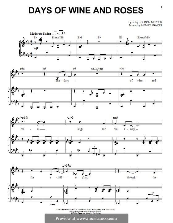 Days of Wine and Roses: Para vocais e piano by Henry Mancini