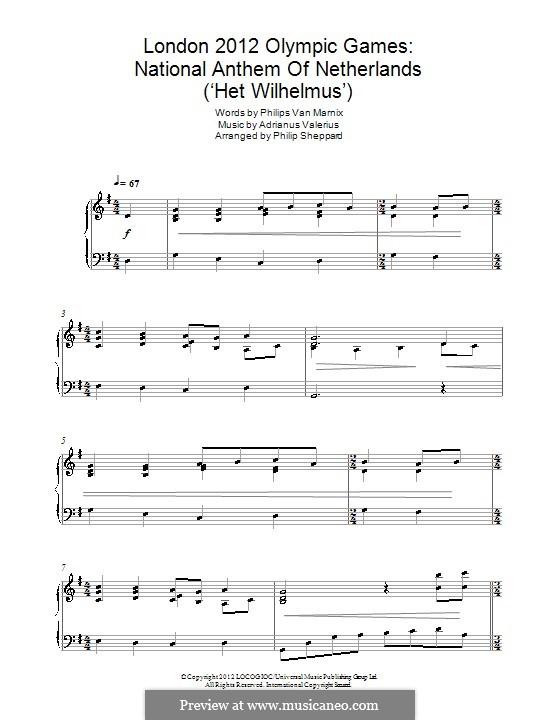 National Anthem of Netherlands ('Het Wilhelmus'): Para Piano by Adrianus Valerius
