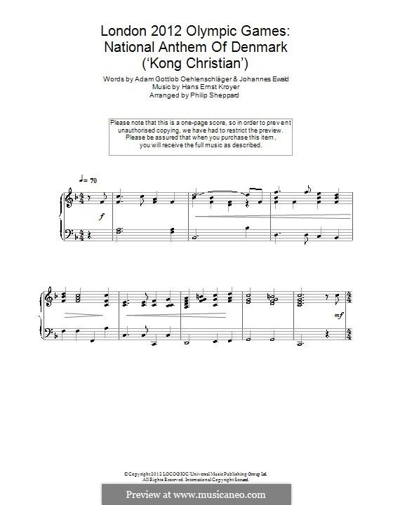 Der er et Yndigt Land (Danish National Anthem): Para Piano by Hans Ernst Kroyer