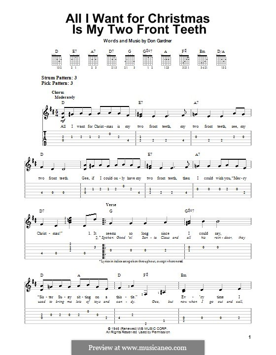 All I Want for Christmas Is My Two Front Teeth: Para guitarra com guia by Don Gardner