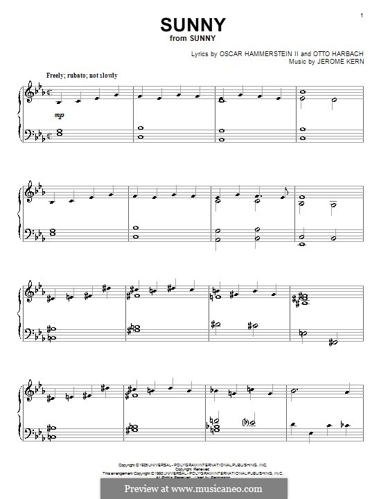 Sunny: Para Piano by Jerome Kern