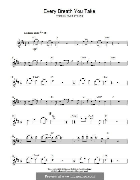 Every Breath You Take (The Police): para Saxofone Alto by Sting