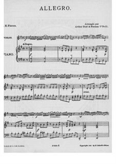 Suite No.1: Allegro, for violin and piano by Joseph-Hector Fiocco