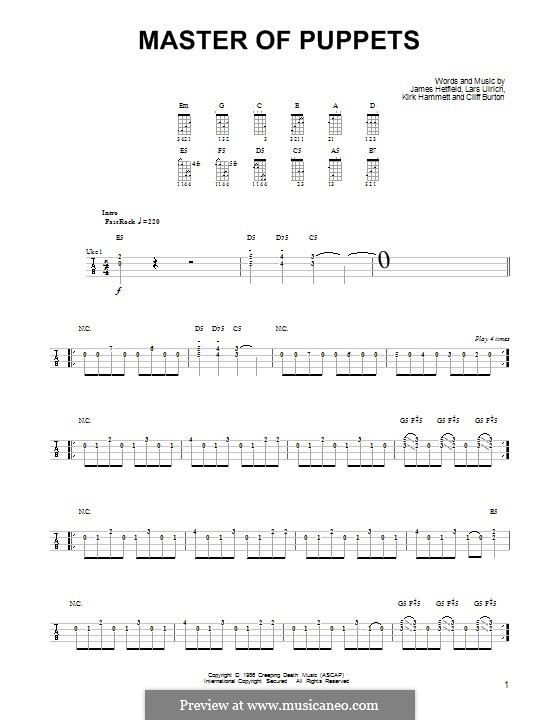 Master of Puppets (Metallica): para ukulele by Cliff Burton, James Hetfield, Kirk Hammett, Lars Ulrich
