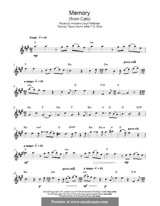 Memory (from Cats): para Saxofone Alto by Andrew Lloyd Webber