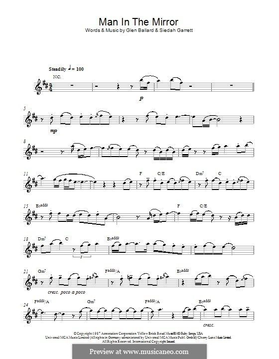 Man in the Mirror: para Saxofone Alto by Glen Ballard, Siedah Garrett