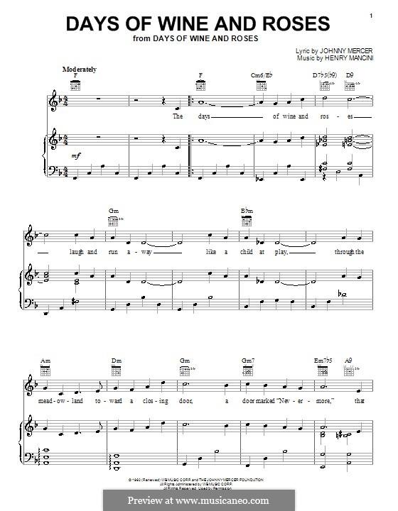 Days of Wine and Roses: Para vocais e piano (ou Guitarra) by Henry Mancini