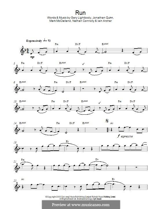 Run: para Saxofone Alto by Gary Lightbody, Iain Archer, Jonathan Quinn, Mark McClelland, Nathan Connolly