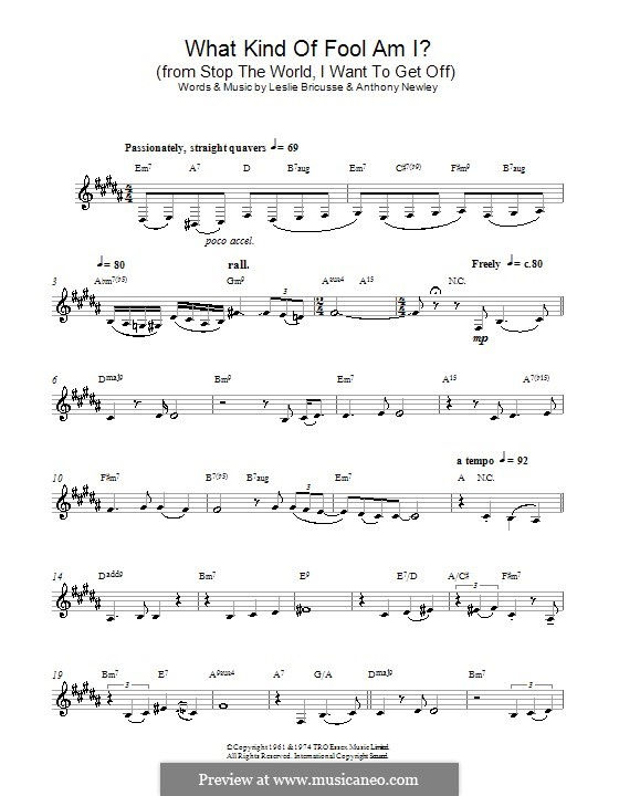 What Kind of Fool am I: para Saxofone Alto by Anthony Newley, Leslie Bricusse