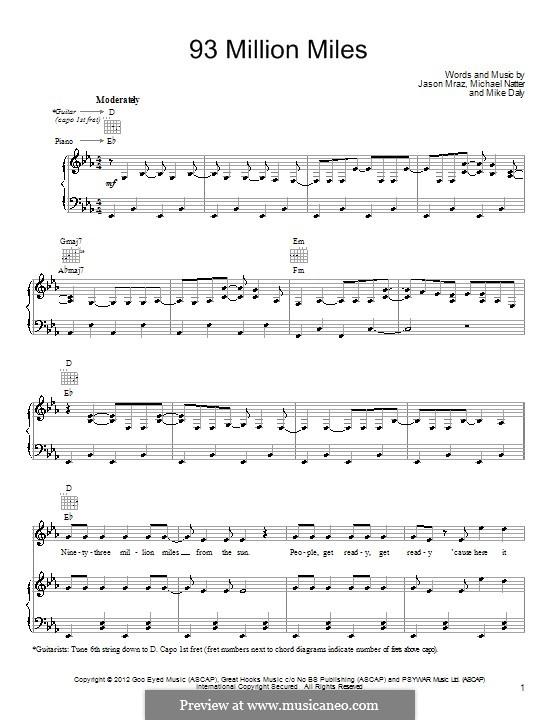 93 Million Miles: Para vocais e piano (ou Guitarra) by Jason Mraz, Michael Natter, Mike Daly