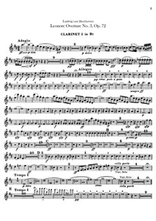 Leonore. Overture No.3, Op.72b: clarinetas parte I-II by Ludwig van Beethoven