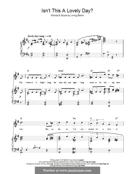 Isn't This a Lovely Day (To Be Caught in the Rain?): para vozes e piano ou guitarra (Top Hat Cast) by Irving Berlin