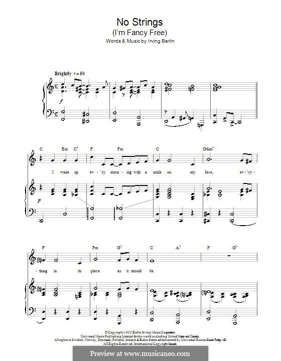 No Strings (I'm Fancy Free): para vozes e piano ou guitarra (Top Hat Cast) by Irving Berlin