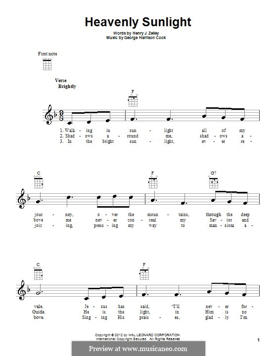 Heavenly Sunlight: Para voz e ukulele by George Harrison Cook