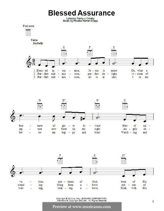 Blessed Assurance: para ukulele by Phoebe Palmer Knapp