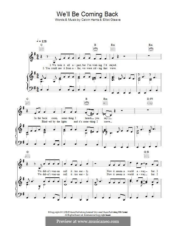 We'll Be Coming Back (Calvin Harris feat. Example): Para vocais e piano (ou Guitarra) by Calvin Harris, Elliot Gleave