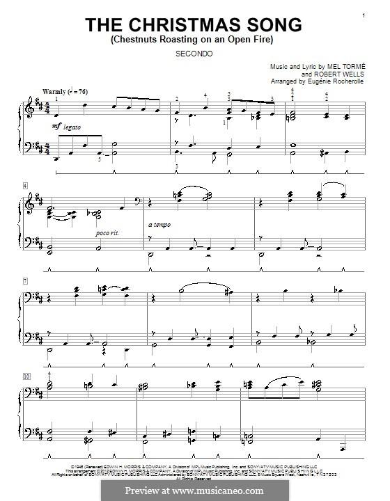 The Christmas Song (Chestnuts Roasting on an Open Fire), for Piano: versão para piano de quatro mãos by Mel Tormé, Robert Wells