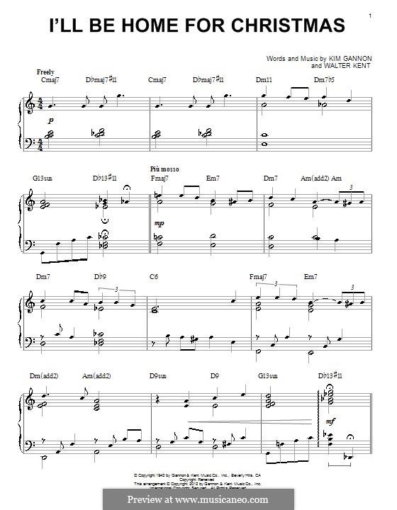 I'll Be Home for Christmas: para piano (com acordes) by Kim Gannon, Walter Kent