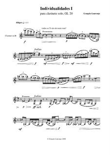 Individualidades I, for Clarinet Solo, GL20: Individualidades I, for Clarinet Solo by Gonçalo Lourenço