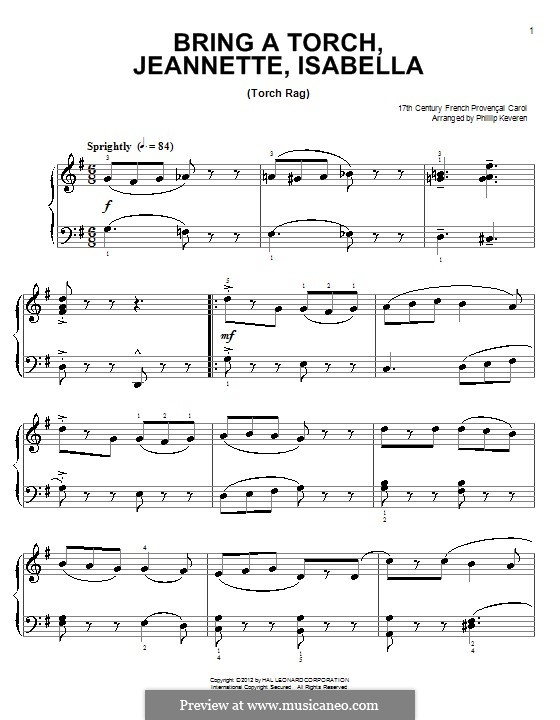 Bring a Torch, Jeannette Isabella: Para Piano by folklore