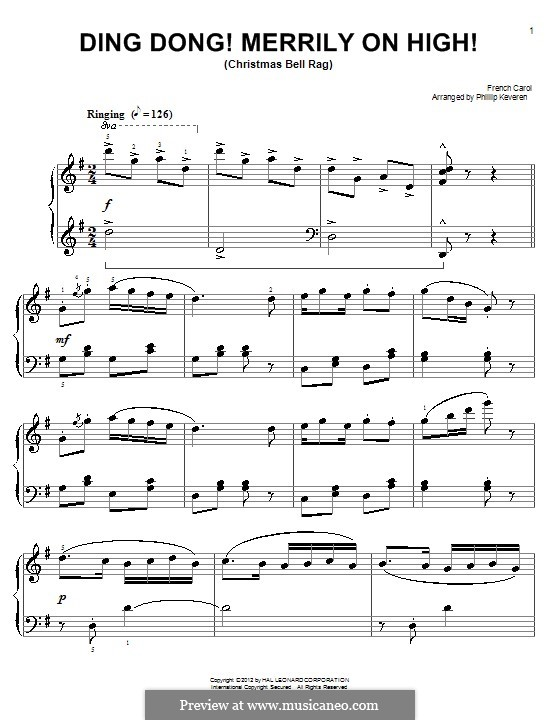 Ding Dong! Merrily on High (Printable Scores): Para Piano by folklore