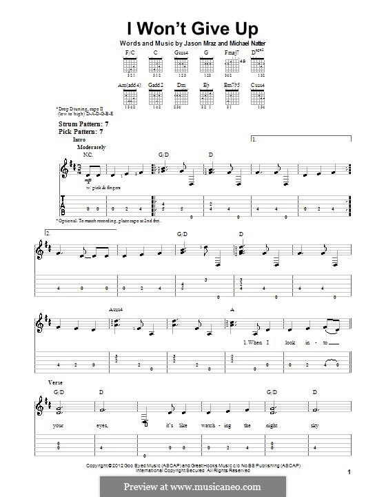 I Won't Give Up: Para guitarra com guia by Jason Mraz, Michael Natter