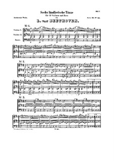 Six Ländler for Two Violins and Cello, WoO 15: set completo by Ludwig van Beethoven