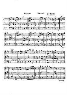 Minuet for Two Violins and Cello in D Major: Minuet for Two Violins and Cello in D Major by Wolfgang Amadeus Mozart