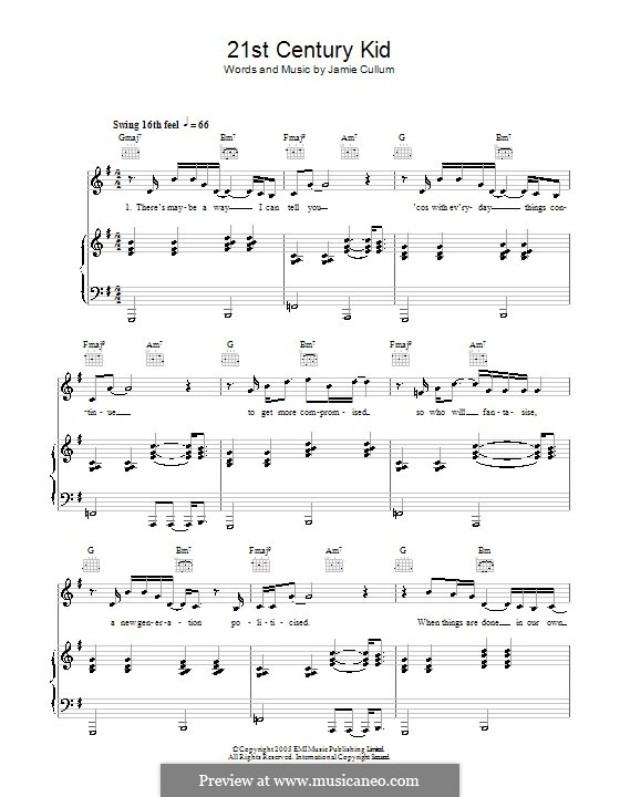 21st Century Kid: Para vocais e piano (ou Guitarra) by Jamie Cullum