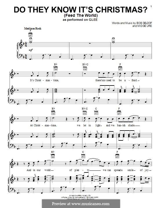 Do They Know It's Christmas? (Feed the World): Para vocais e piano (ou Guitarra) by Bob Geldof, Midge Ure