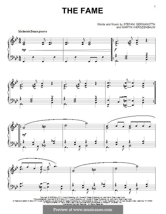 The Fame (Lady Gaga): Para Piano by Martin Kierszenbaum, Stefani Germanotta