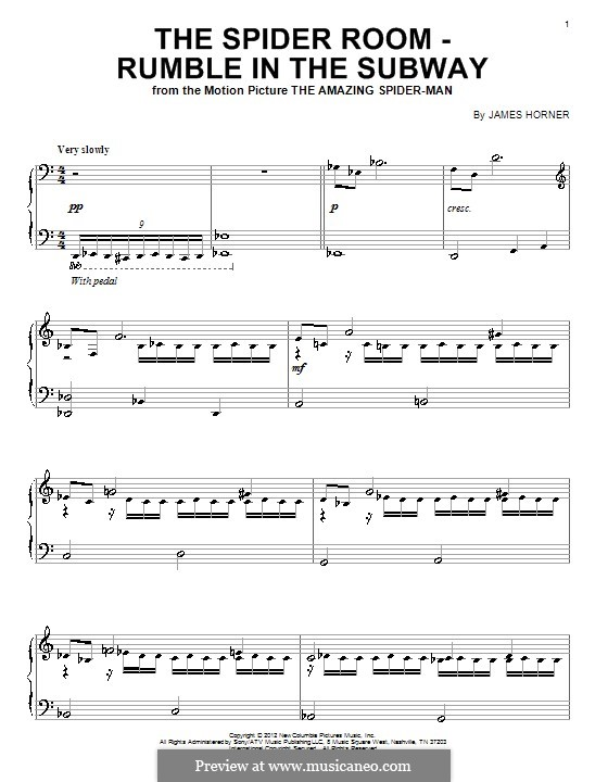The Spider Room - Rumble in the Subway: Para Piano by James Horner