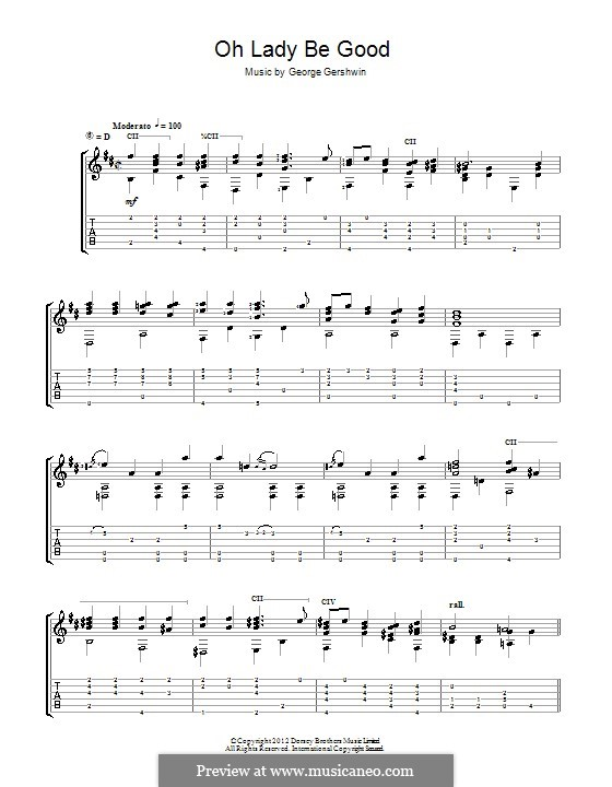 Oh, Lady, Be Good: For guitar (Jerry Willard) by George Gershwin