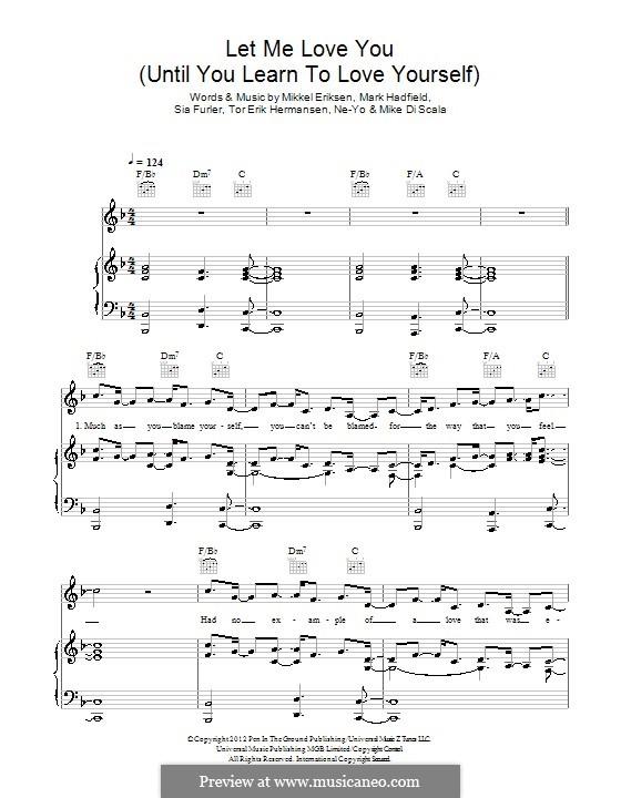 Let Me Love You (Until You Learn to Love Yourself): Para vocais e piano (ou Guitarra) by Mark Hadfield, Mikkel Storleer Eriksen, Ne-Yo, Sia Furler, Mike Di Scala