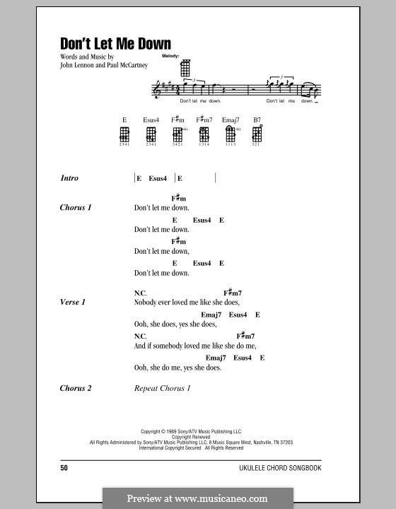 Don't Let Me Down (The Beatles): para ukulele by John Lennon, Paul McCartney