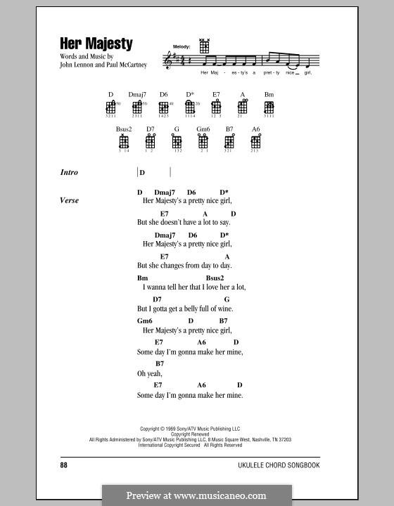 Her Majesty (The Beatles): para ukulele by John Lennon, Paul McCartney