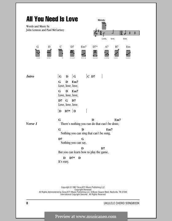All You Need Is Love (The Beatles): para ukulele by John Lennon, Paul McCartney