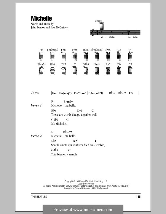 Michelle (The Beatles): para ukulele by John Lennon, Paul McCartney