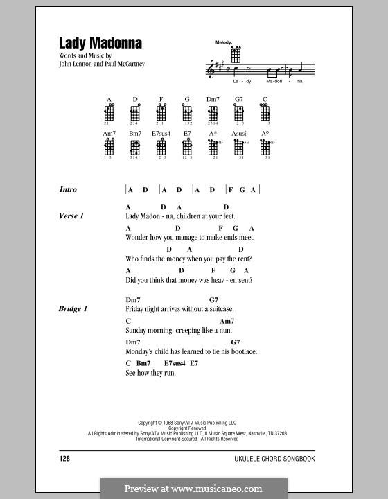 Lady Madonna (The Beatles): para ukulele by John Lennon, Paul McCartney