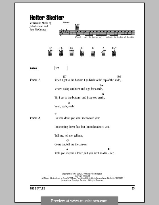 Helter Skelter (The Beatles): para ukulele by John Lennon, Paul McCartney