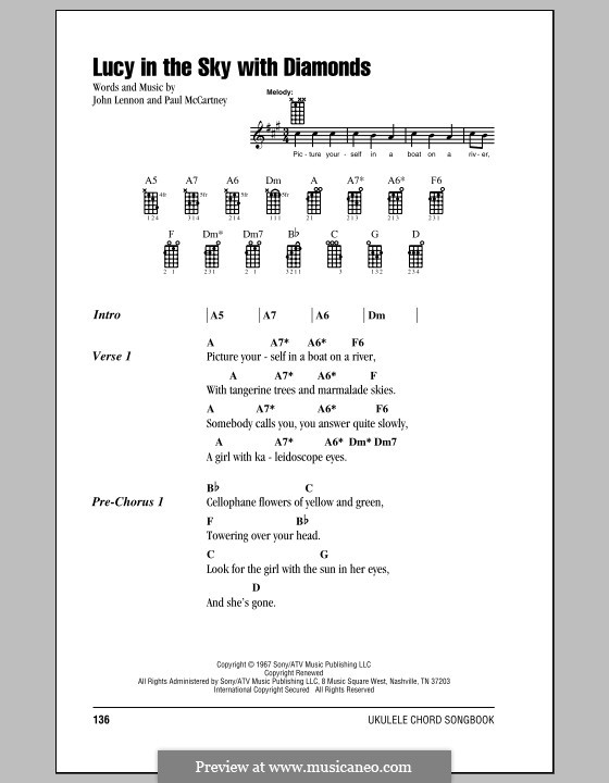 Lucy in the Sky with Diamonds (The Beatles): para ukulele by John Lennon, Paul McCartney